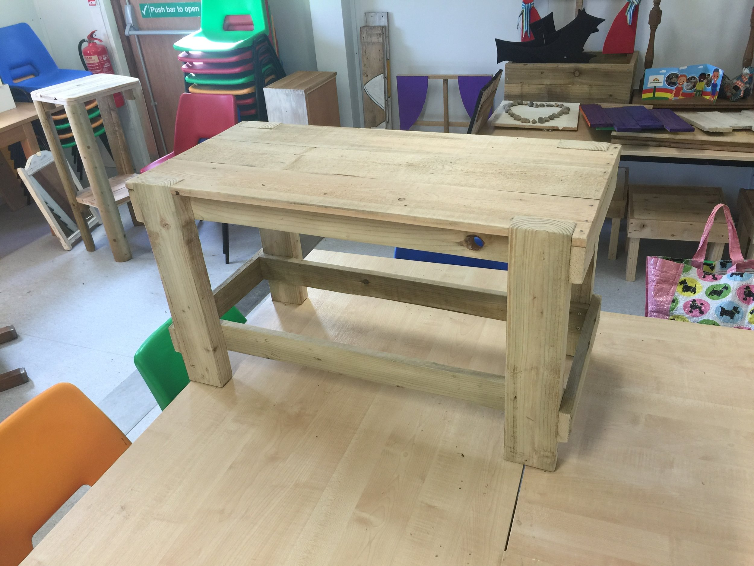Pallet Table: 92x42cm x 51 high £50: Can be painted or stained.