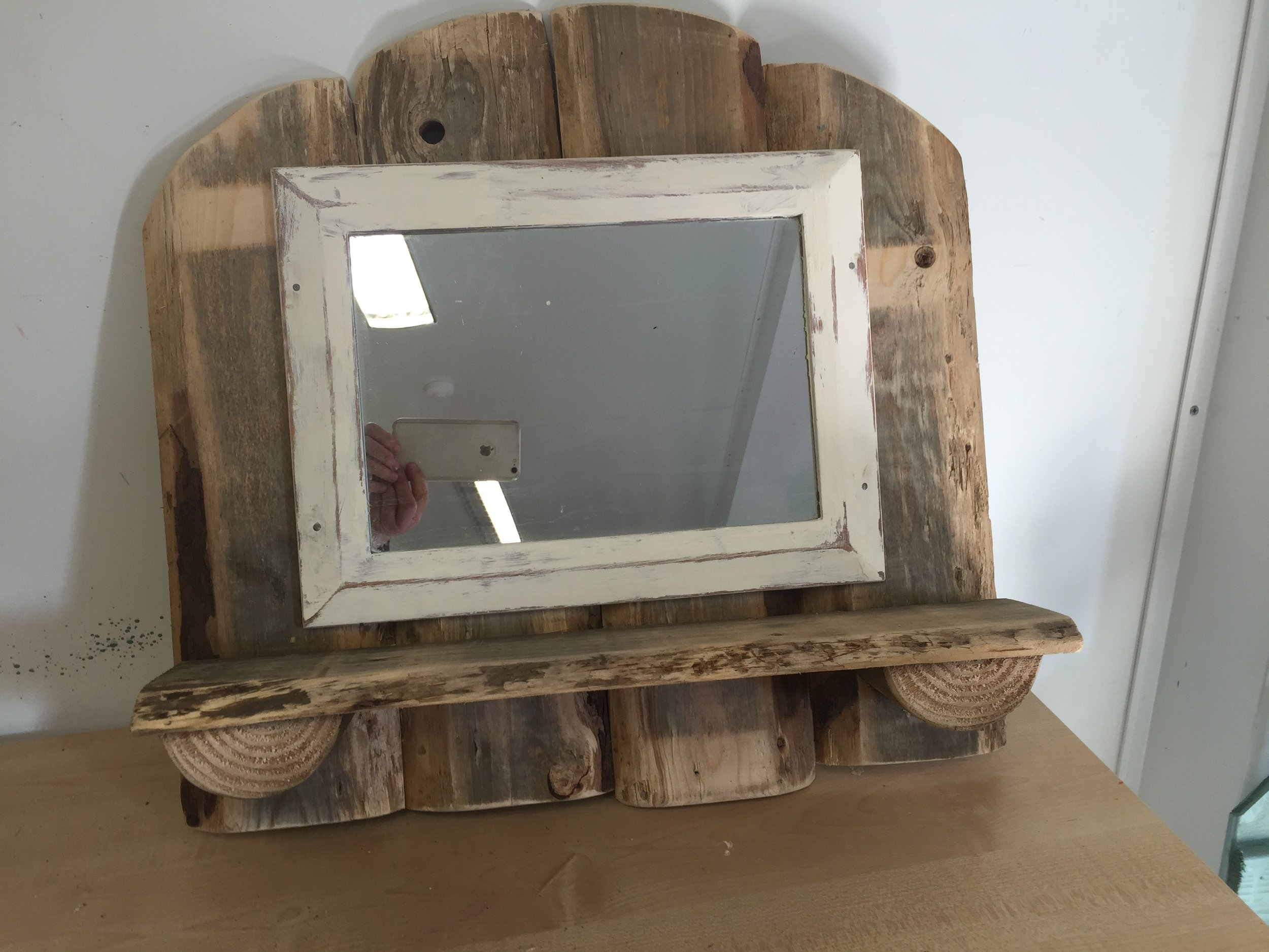 Shelf with Shabby chic mirror 56w x 54h£50