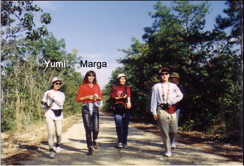 in the early days…Walking the Church Yard Road that borders the sanctuary with friends from Japan