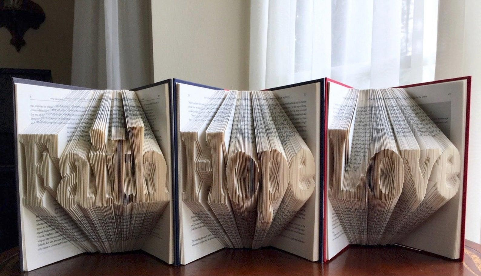 Faith, Hope and Love - A trio of Faith, Hope and Love beautifully displayed as book origami can be yours if the bid is right! Local artist, Sherry Fochler will present these to you personally.Starting Bid $100.00