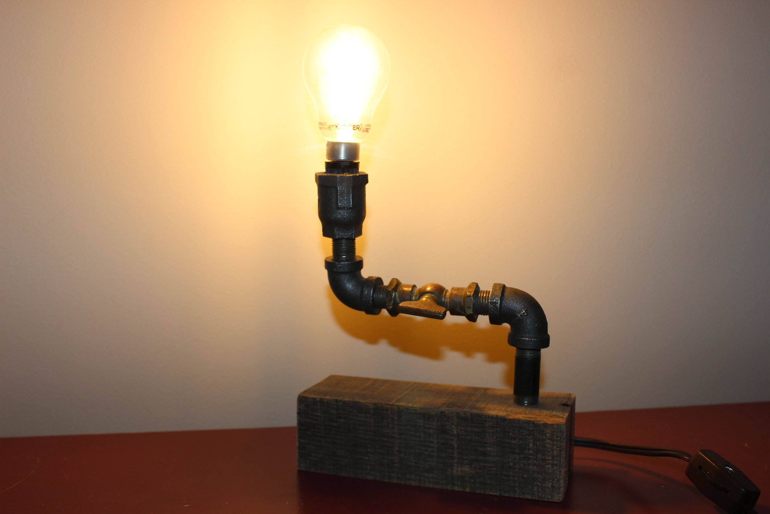 Simple Steampunk Lamp - This is a handcrafted lamp by a local craftsman.Value $30