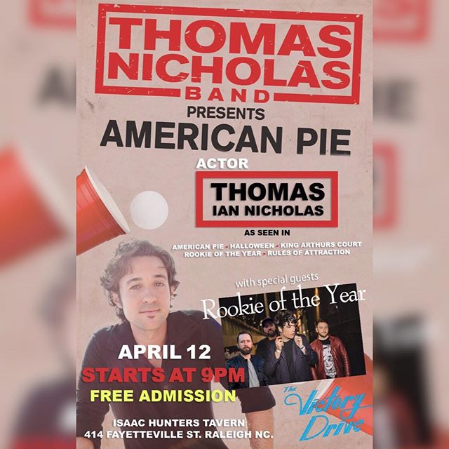 Tonight at 9pm!! $4 Coors Light Draft / $6 Apple Pie Shots / $7 Pinnacle Bombs. FREE ADMISSION. 🥧🍺🥧🥃🥧 #americanpie #rookieoftheyear #downtownraleigh #livemusic #stiflersmom #bandcamp #isaachunters #drinks #fun #blockbustervideoandchill #driptoohard #shermanator #early2000s #myspace