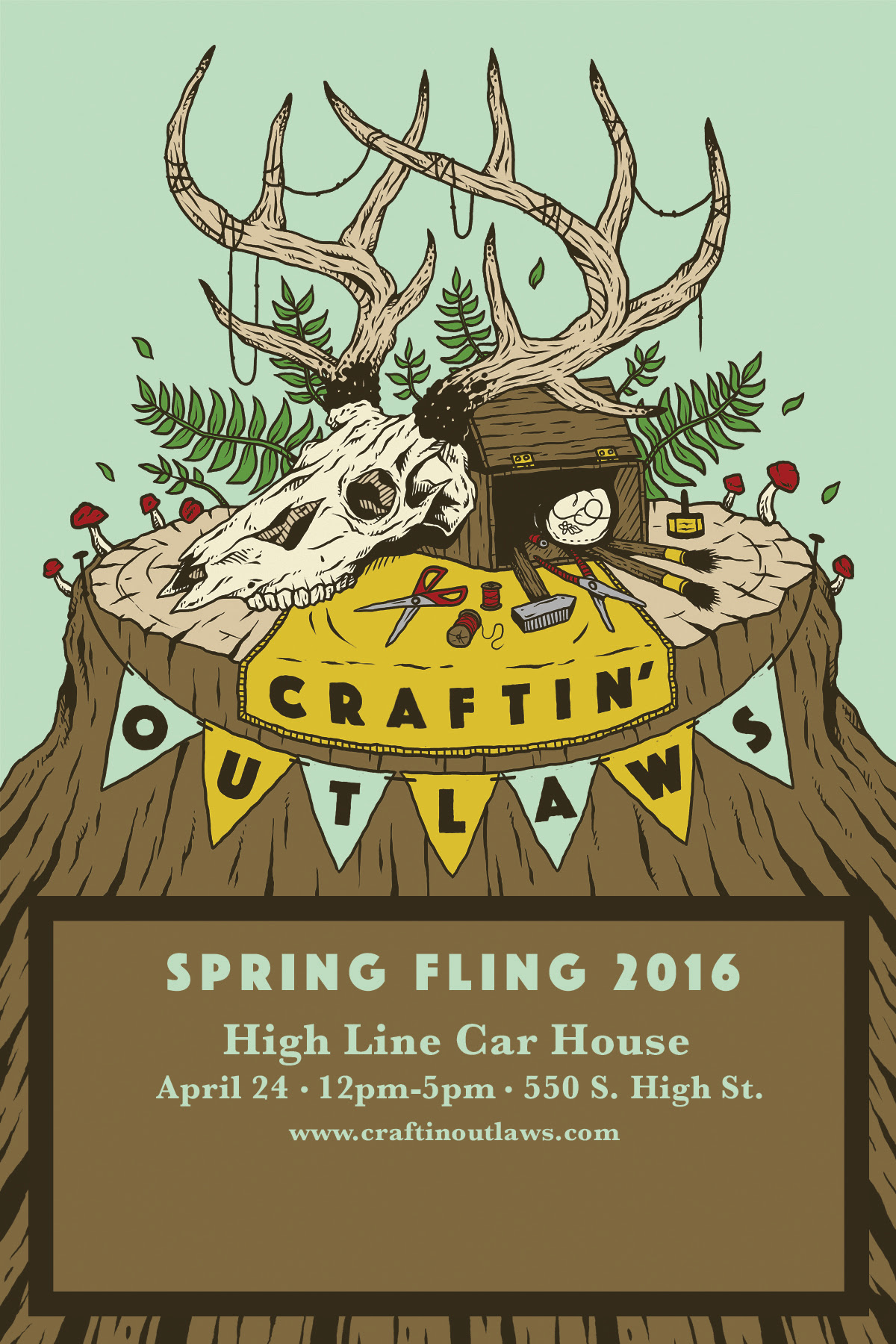 If you find yourself in the greater Columbus area on Sunday, April 24th, come on down and hang out at the Craftin' Outlaws 2016 Spring Fling show! The High Line Car House is a rad little spot, and will be filled with an eclectic array of artisan goods -- including mine! Swing by and say hello! It is FREE to enter, thus saving you money when you decide to purchase one of my new pieces (really, truly -- your life will improve greatly after purchasing one of my pieces). I will have several pieces for sale, and a few new surprises. There will be a full bar, so your social tension can be minimized with a bit of the old liquid courage. We can discuss the sublime pleasure of dusty light rays bouncing off the canopy and dissipating into trailing dissonance in the warm afternoon sun...will be fun, will be worth yr while. I expect to see you there, yr smiling face, twist of a hand, echoing hello in a larger world...