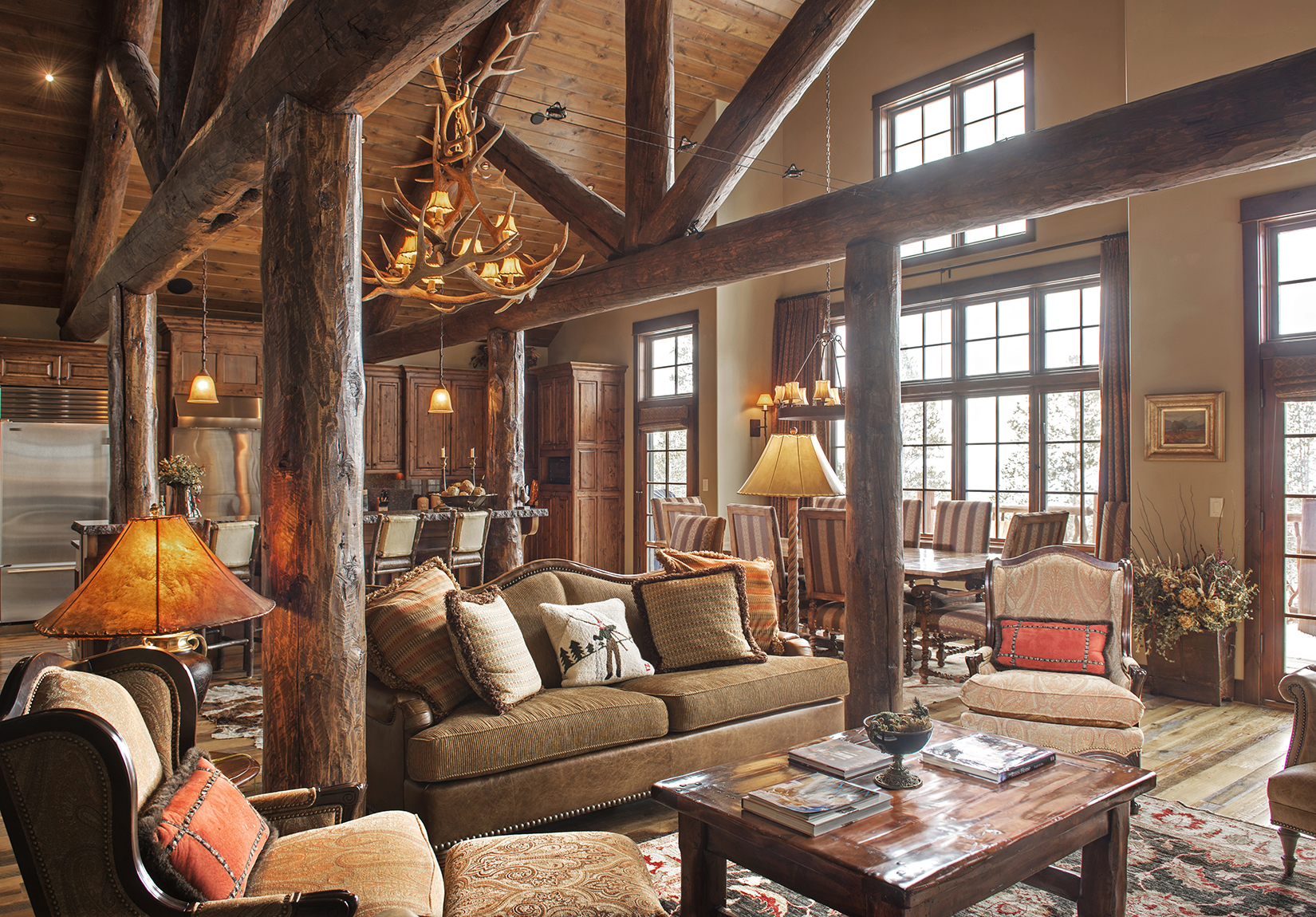 The large timbers in this home reminded me of a cozy log cabin - a log cabin with exceptional ski access!