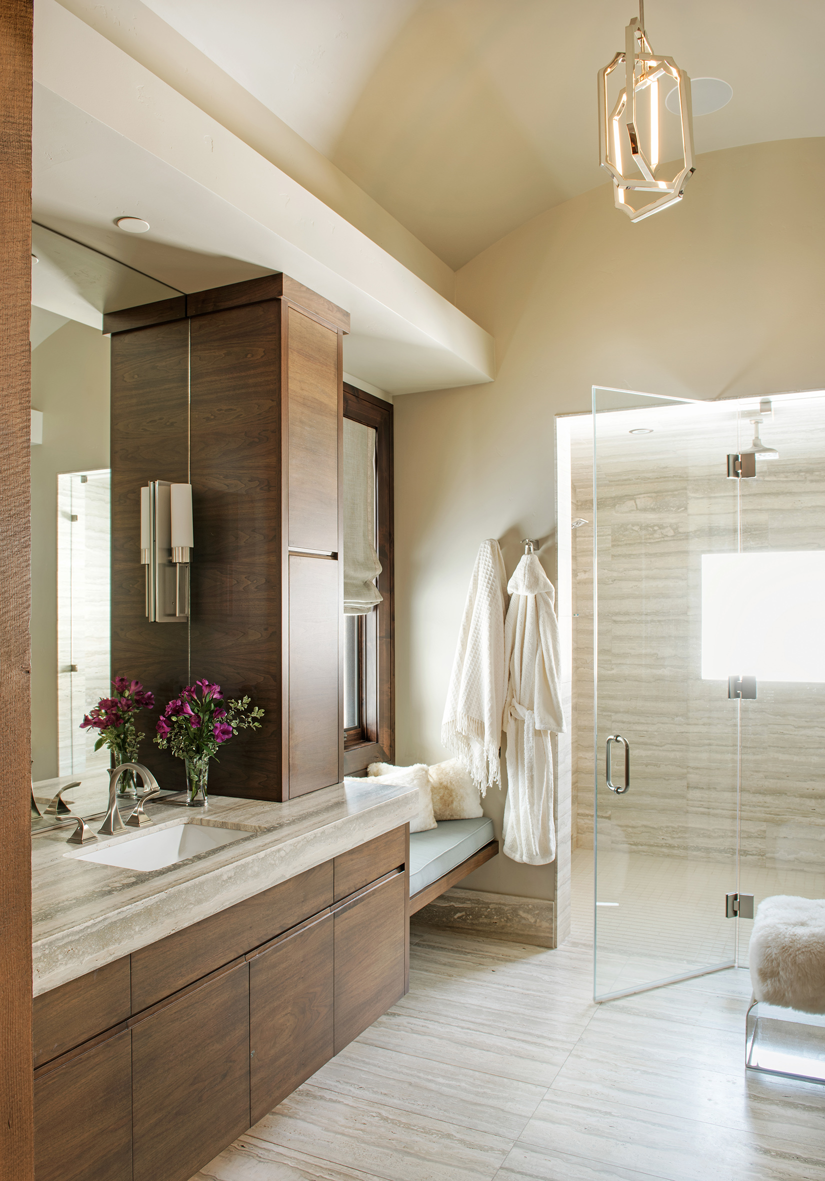 The master bath is open, warm, and maybe one of my favorite rooms in the house!  Check out the shower!