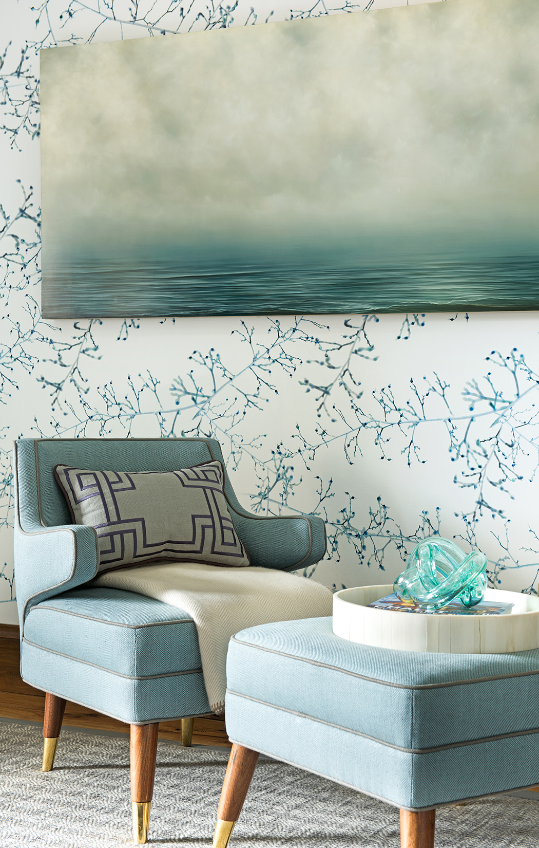 I love the color and the calmness of this space. I just feel like it is the perfect place to relax and reflect. Love it!! Interior Design -  Kelly Hohla Interiors