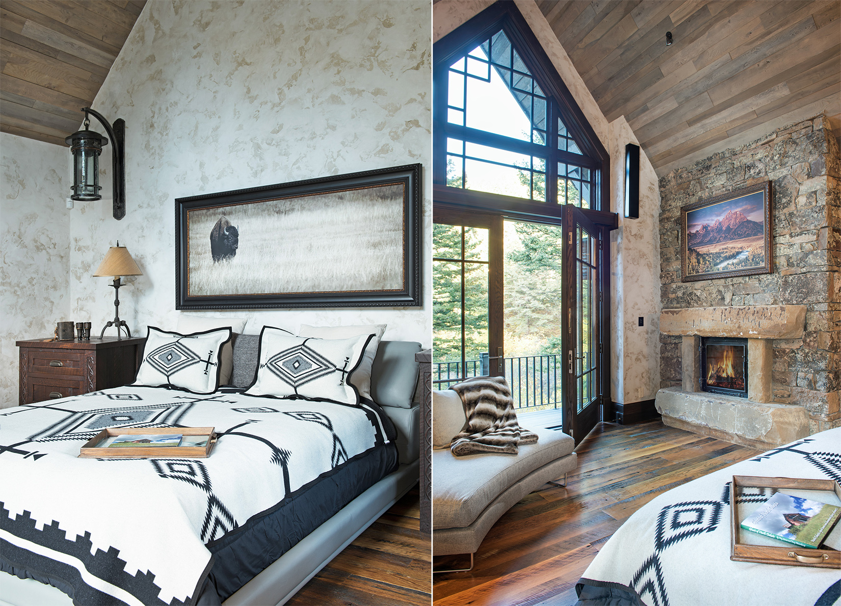 The vaulted ceiling and large windows make this a master bedroom I would love to come home to! - plus I LOVE the bedding and the photo of the buffalo!