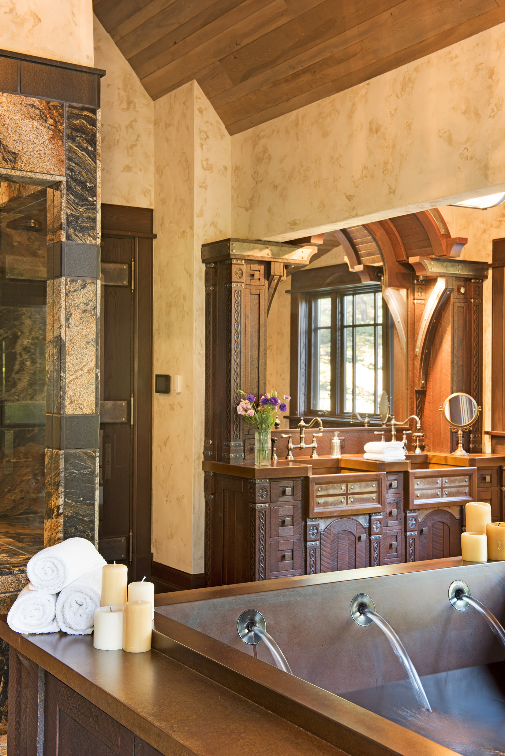 This master bathroom probably deserves a blog post all on it's own - the tub holds 300 gallons and could easily fit 6 people.