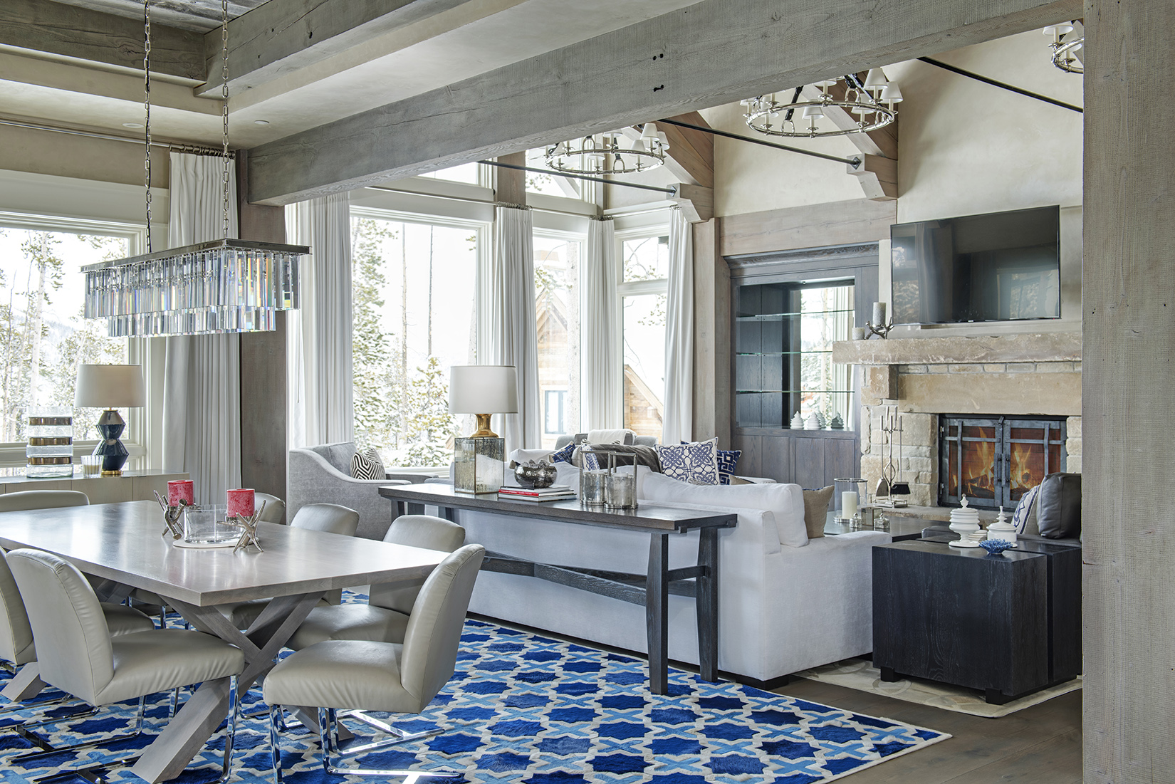 I love how this dining room opens up to the great room, and those blues!  Yellowstone Club