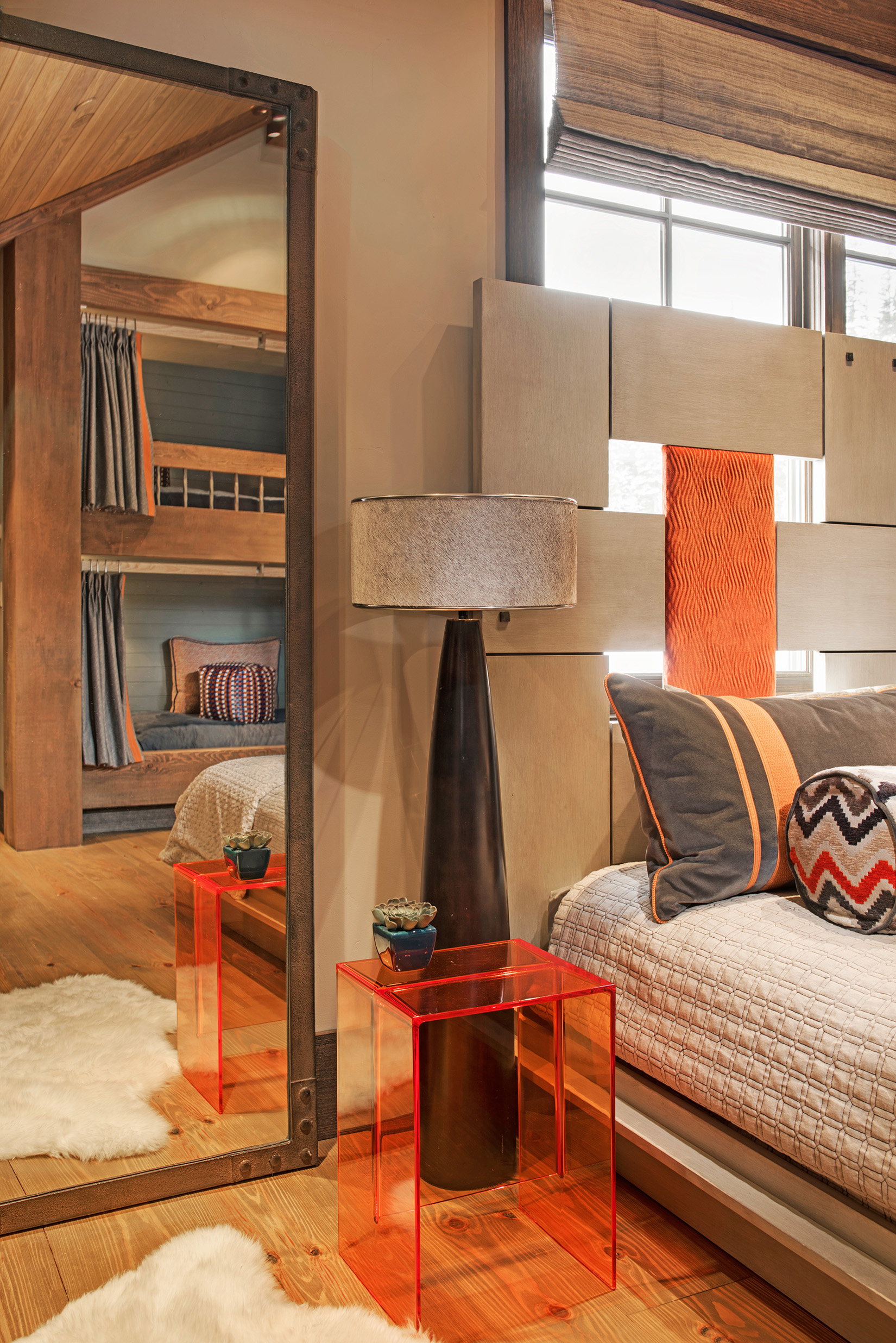 Color and fun is what this space is all about!  The modern look of the nightstand tied in with the rest of the room - so fun!  Design by  The Varda Group .