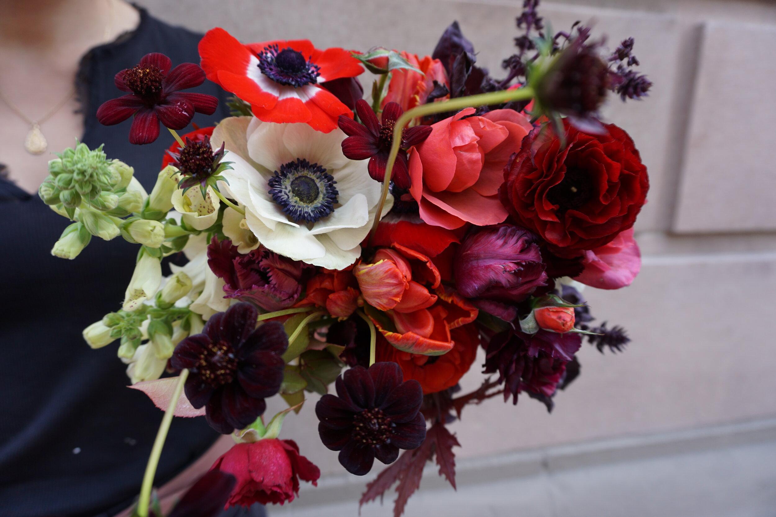 Botanicamuse by Madeleine Shelton San Diego Wedding event designer florist  Dutch Masters P Salter Farms Wayward Daisy The Guild dark rich bouquet