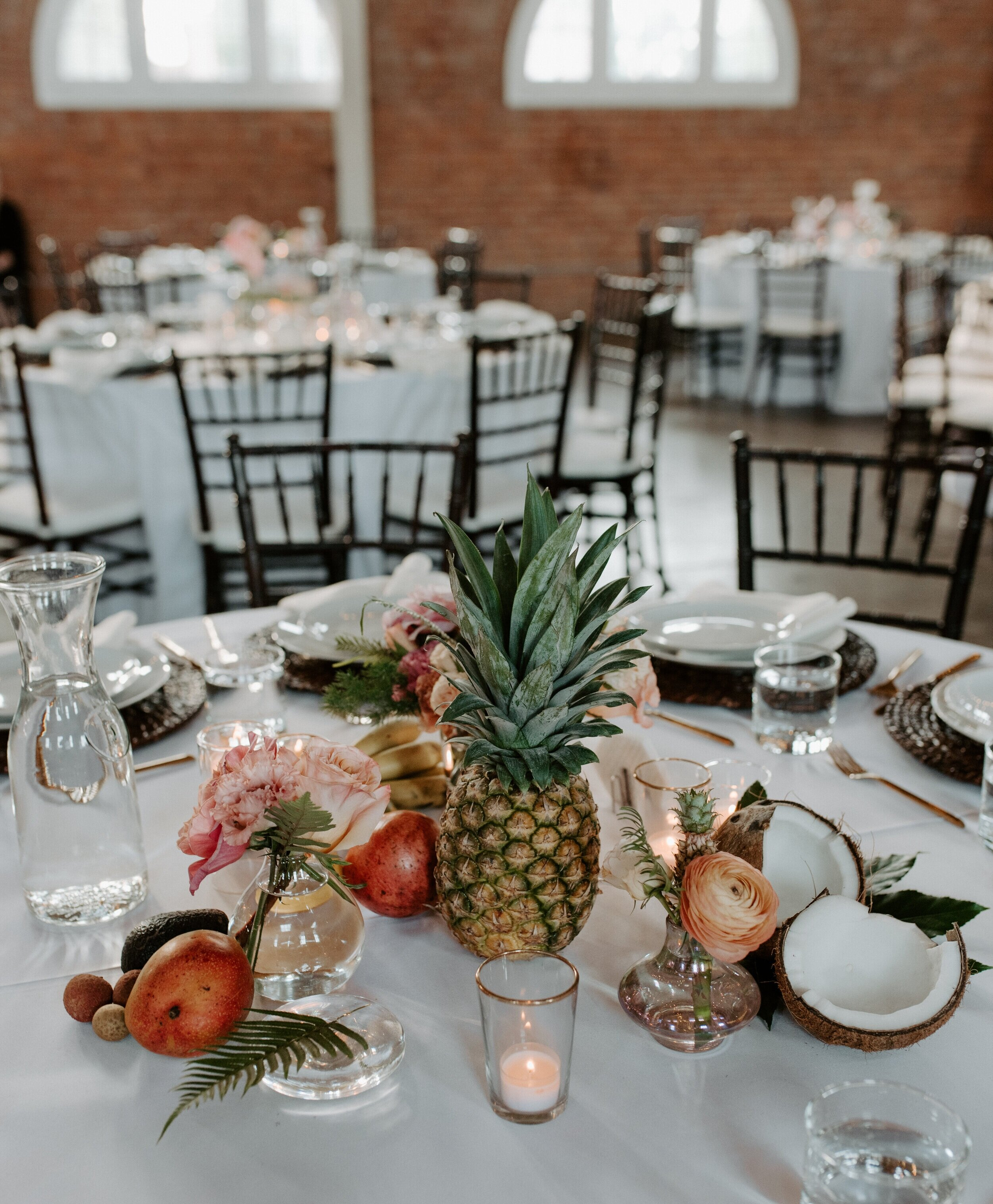 Botanicamuse by Madeleine Shelton tropical centerpieces corporate event liberty station brick florist