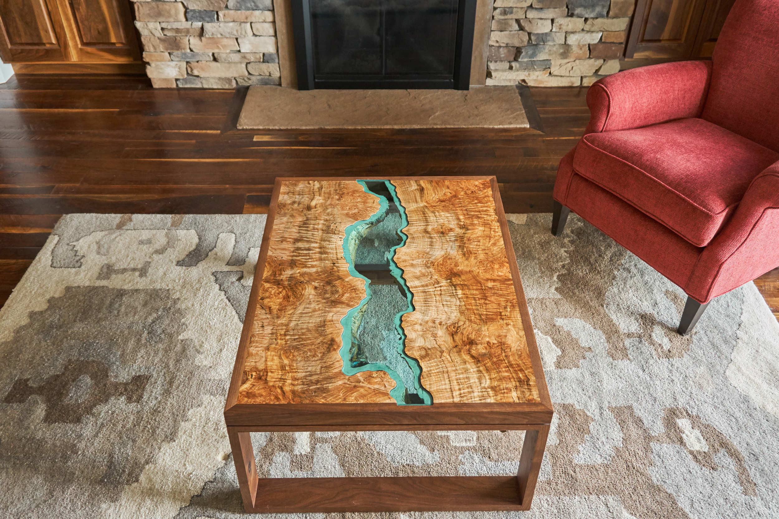 The Prism Maple Collection Coffee Table in a beautiful Denver home.