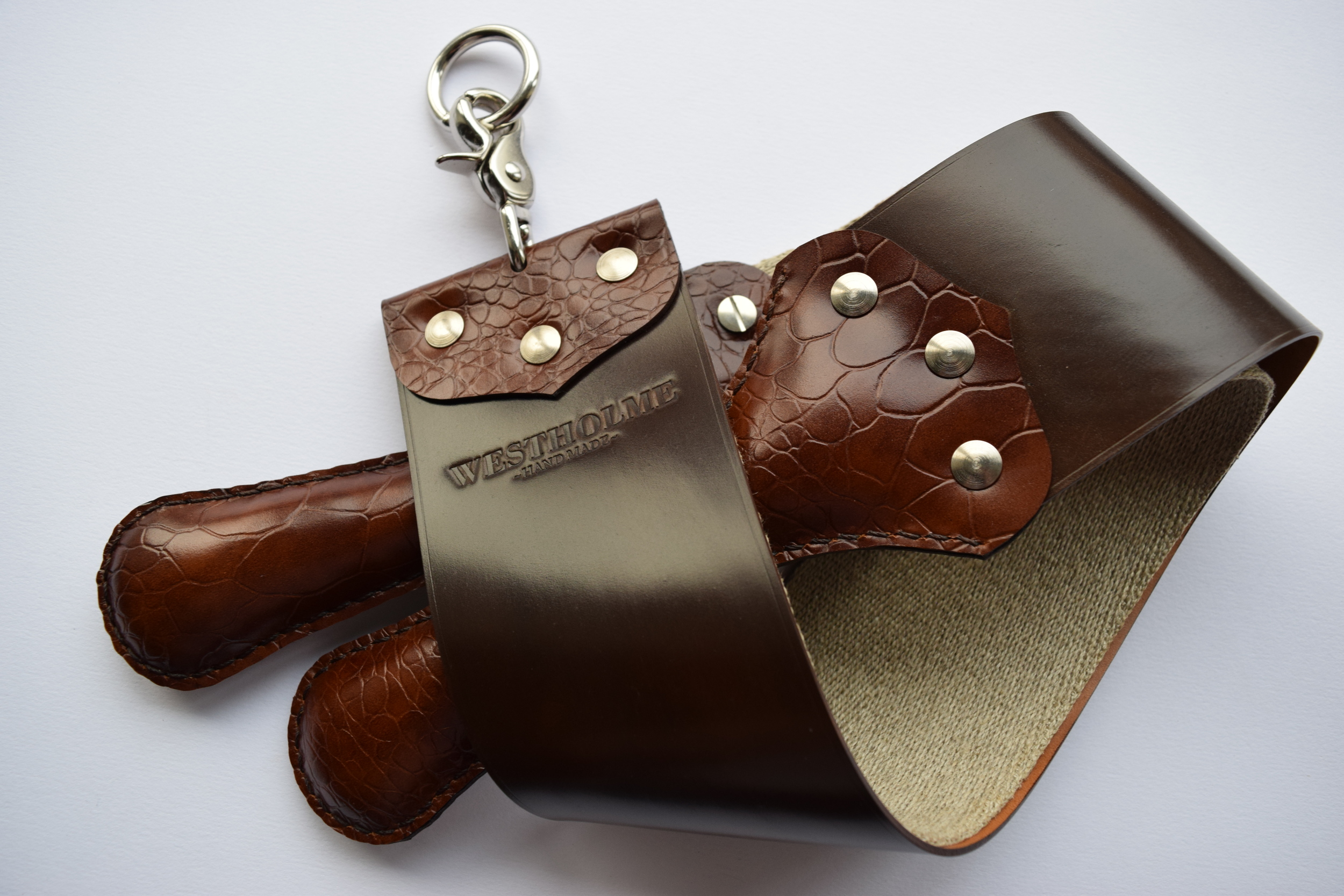 "3"" Shell Cordovan & Natural Linen  (Brown with red faux-croc handles)"
