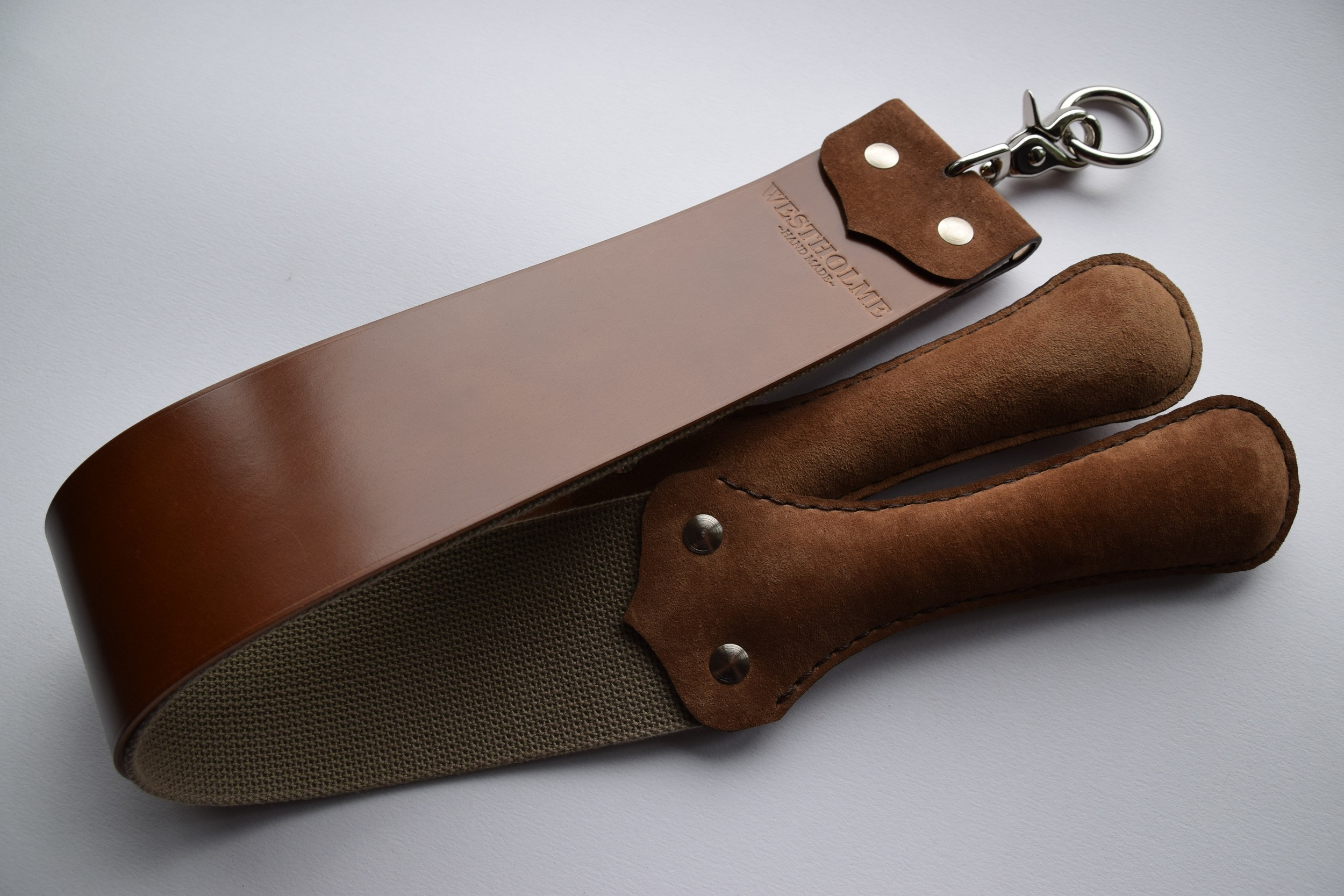 "2.5"" Shell Cordovan & Heavy Cotton  (Whiskey Tan with pig-skin suede handles)"
