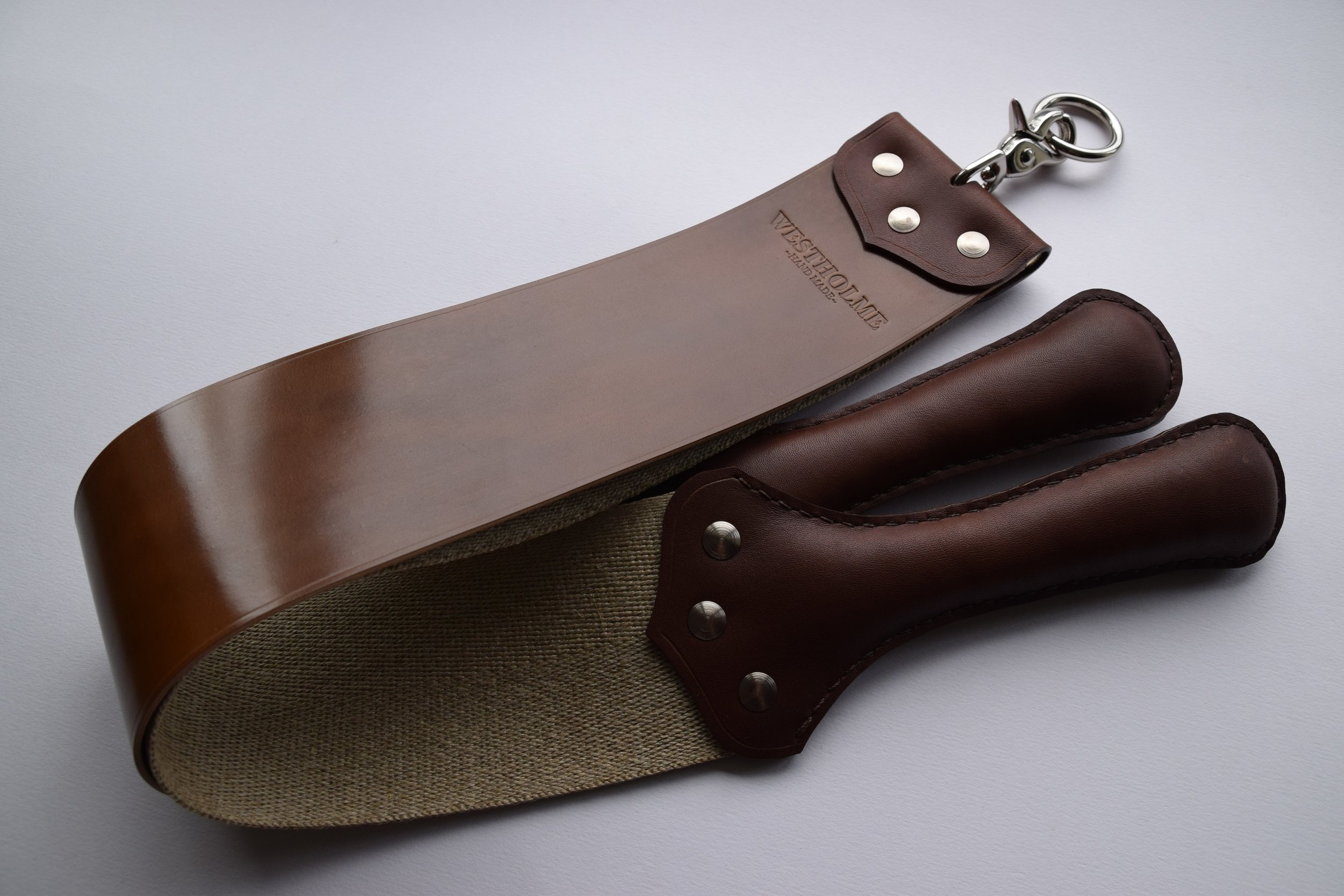 "3"" Shell Cordovan & Natural Linen  (Bourbon with brown Latigo handles)"