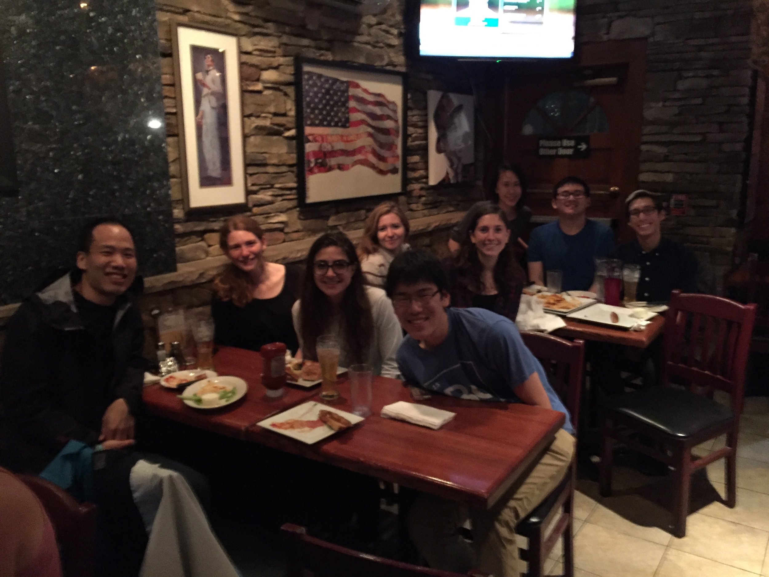 The Liau Lab enjoys beer and wholesome American food at a local watering hole, RF O'Sullivan's.