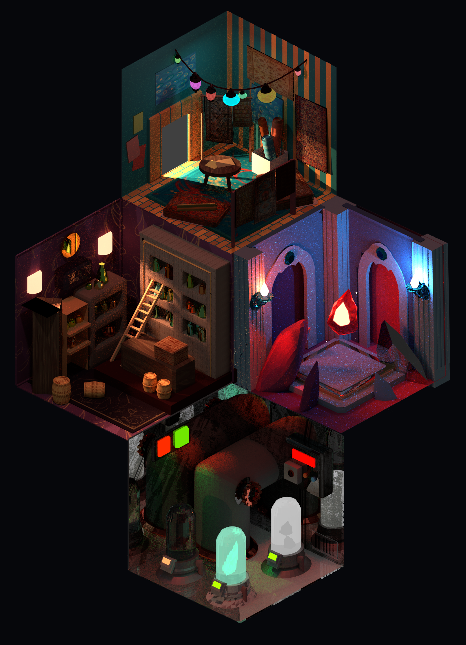 a series of isometric rooms paying homage to traditional RPGs, for a game proposal that involves exploring rooms with varying aesthetics.