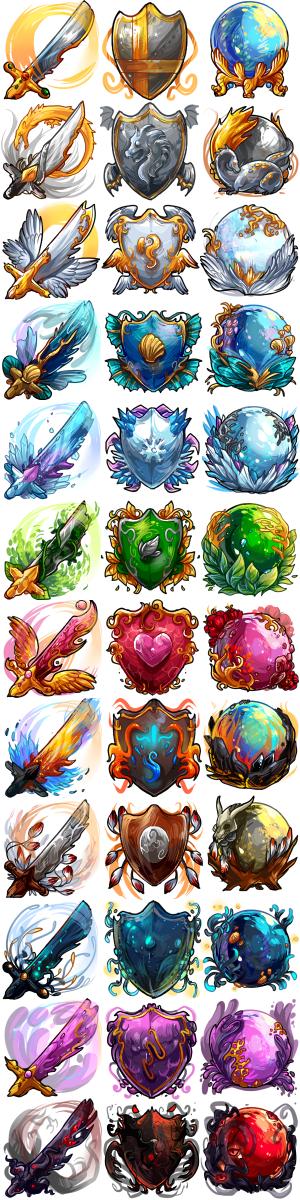 freelance work - elemental item sets of shields, swords, and orbs.
