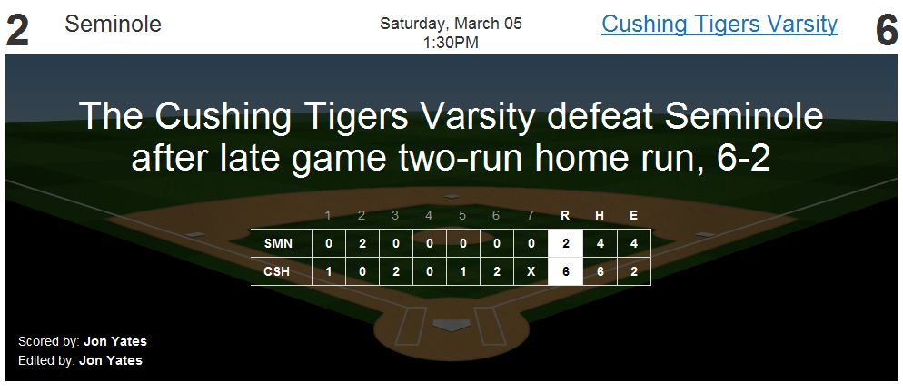 The Cushing Tigers defeat Seminole after late game two-run home run, 6-2