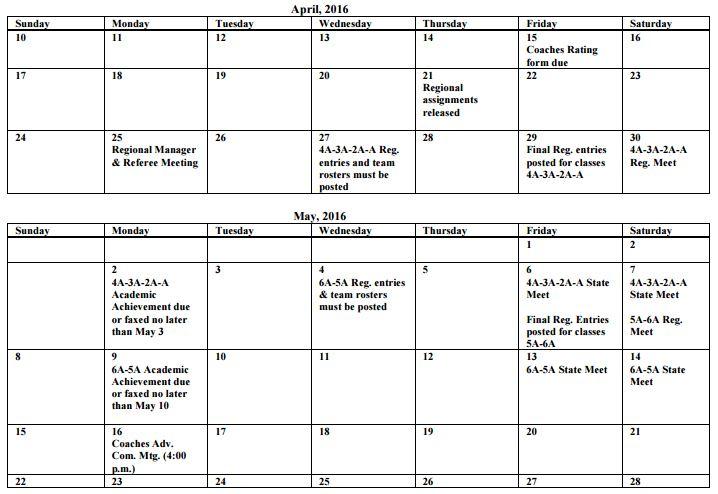 2016 OSSAA tack & Field          Schedule