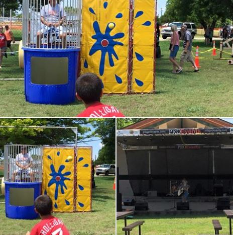 Terry Brannon and Trace Rowe held down the seat on the dunk tank.