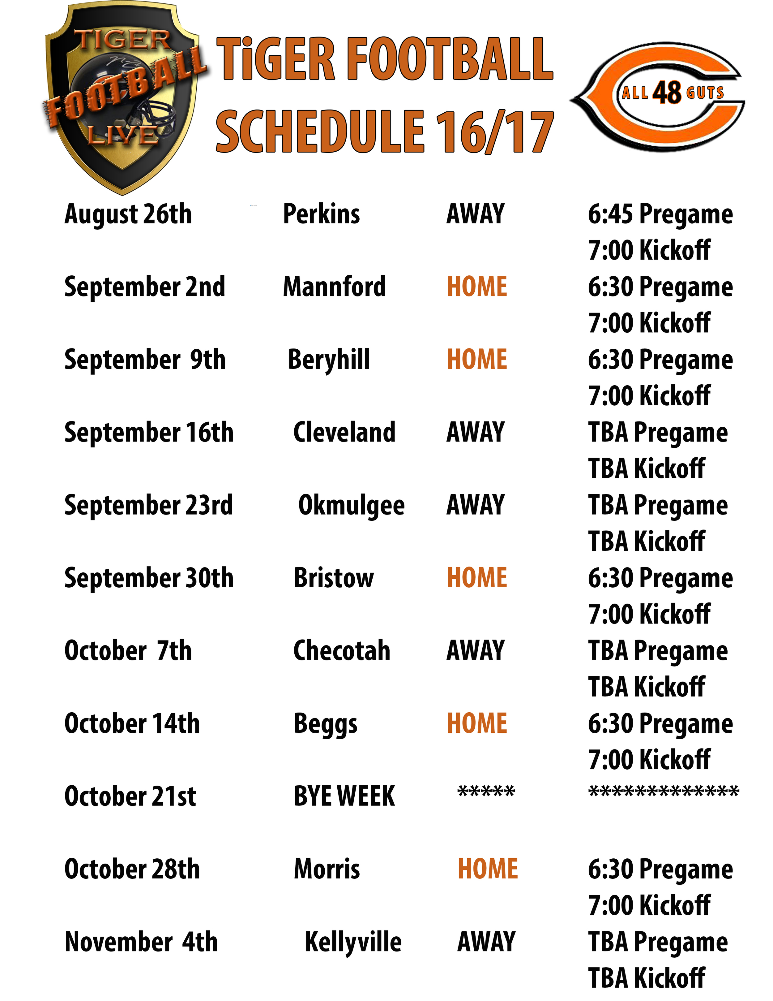 **Hall Of Fame Induction Ceremony September 2nd - **Homecoming September 30th  - ** Senior Night October 28th - All ceremony dates are still subject to change.