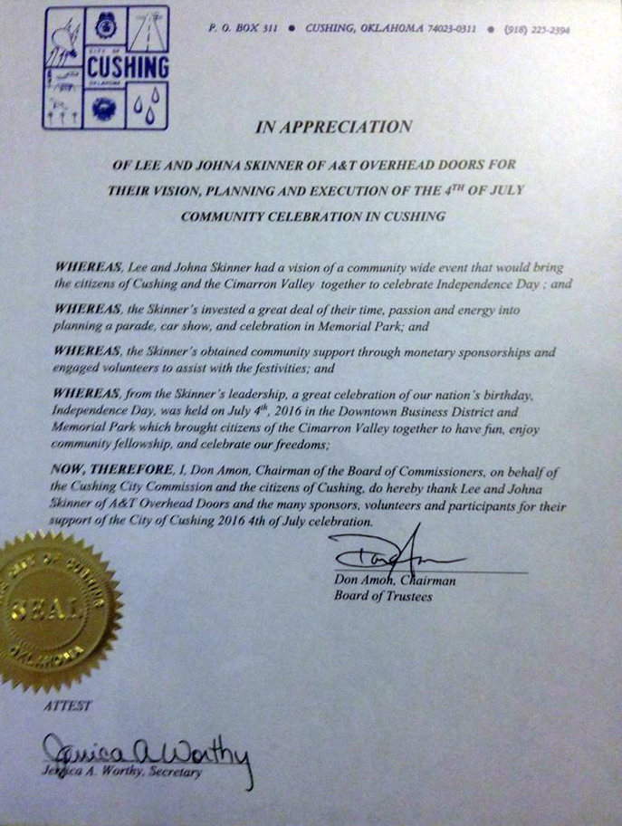 Commendation as presented fsrom the Chairman of the Board of Commissioners