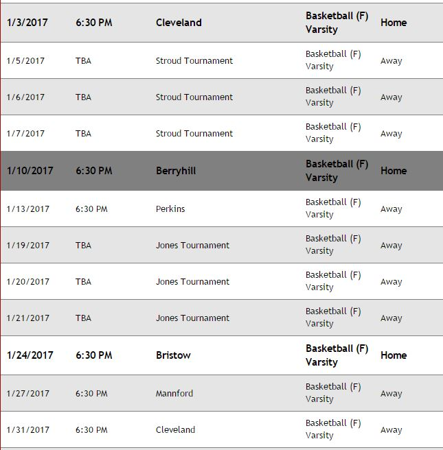 Schedule for January 2017