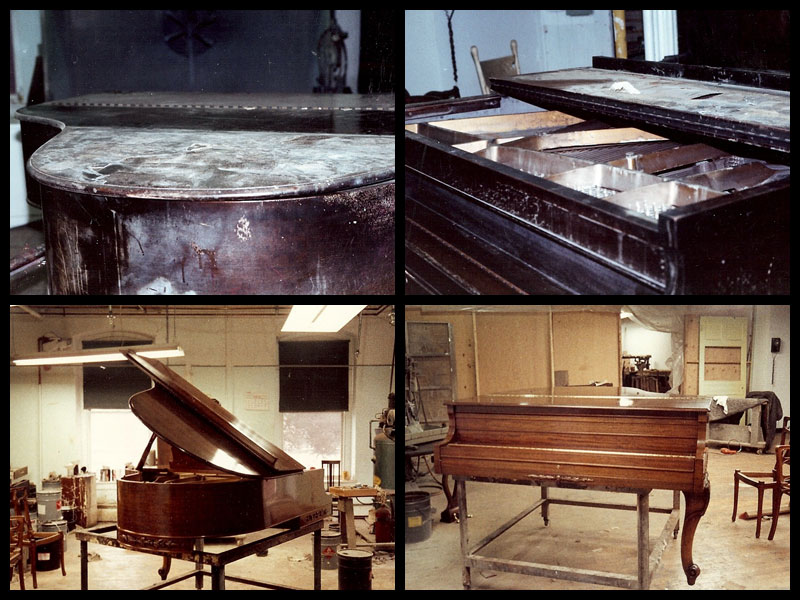Restoration of a grand piano burnt and damaged in a fire.
