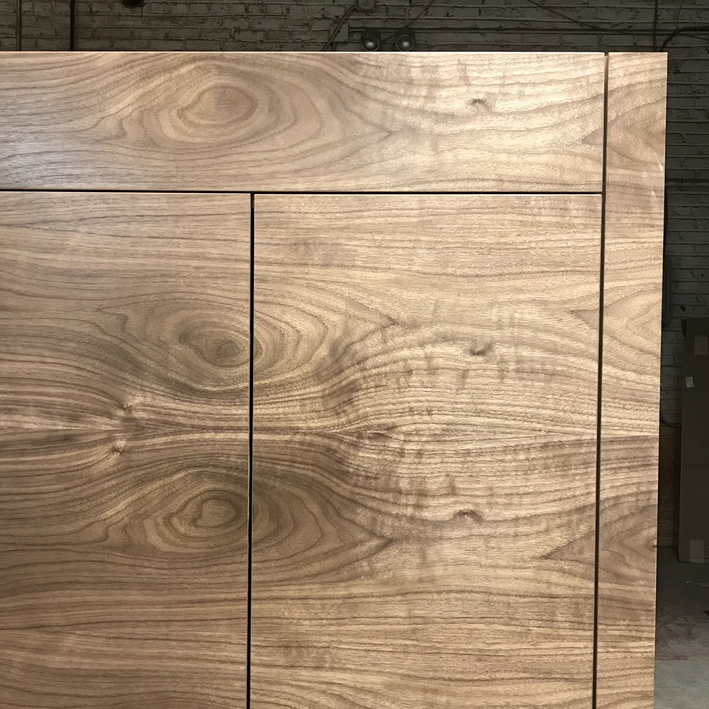 In process photo of a Post Modern cabinet.