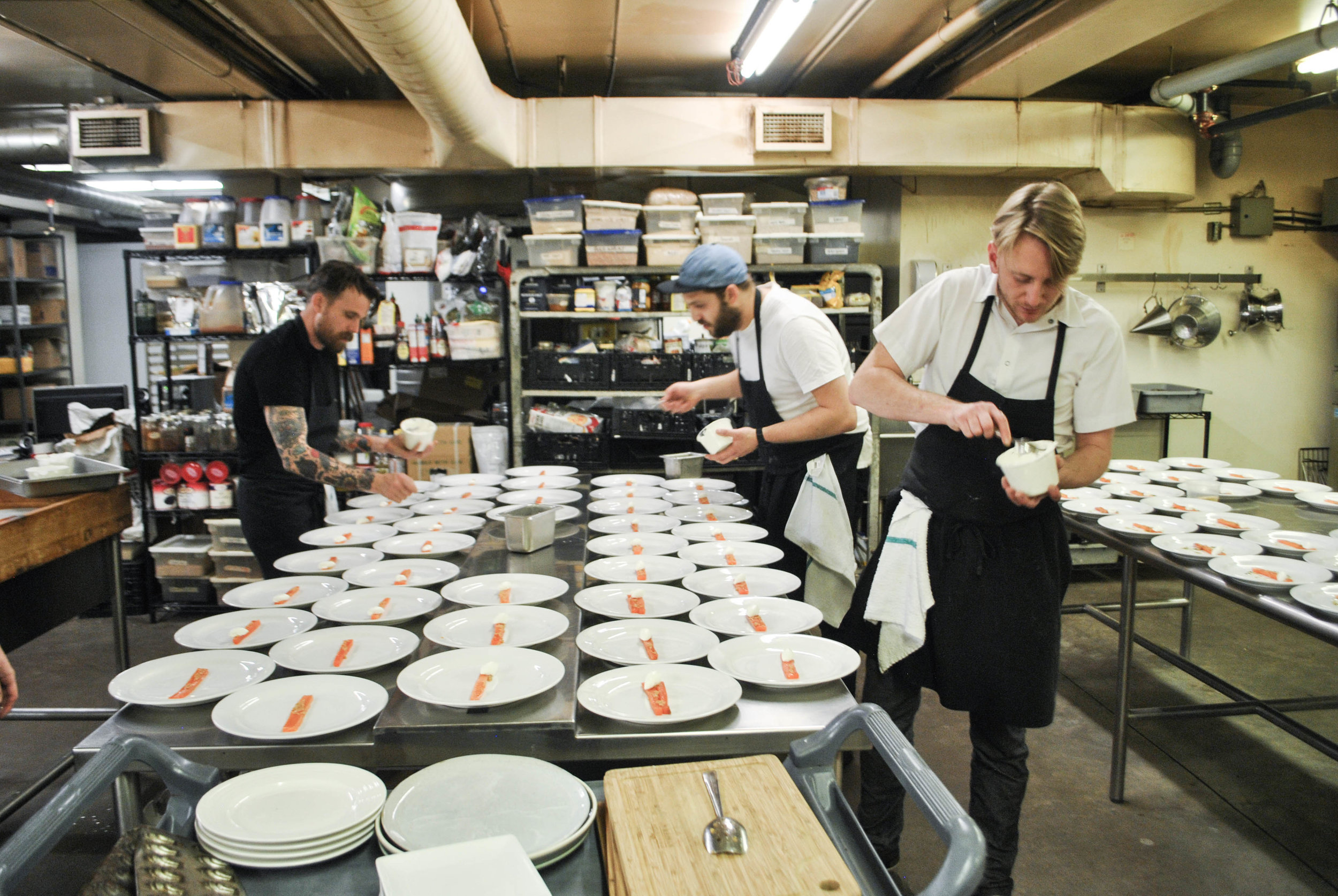 The Ayden team plating the first course. Pictured: Dale McKay, Benet Hunt and Jesse Zuber