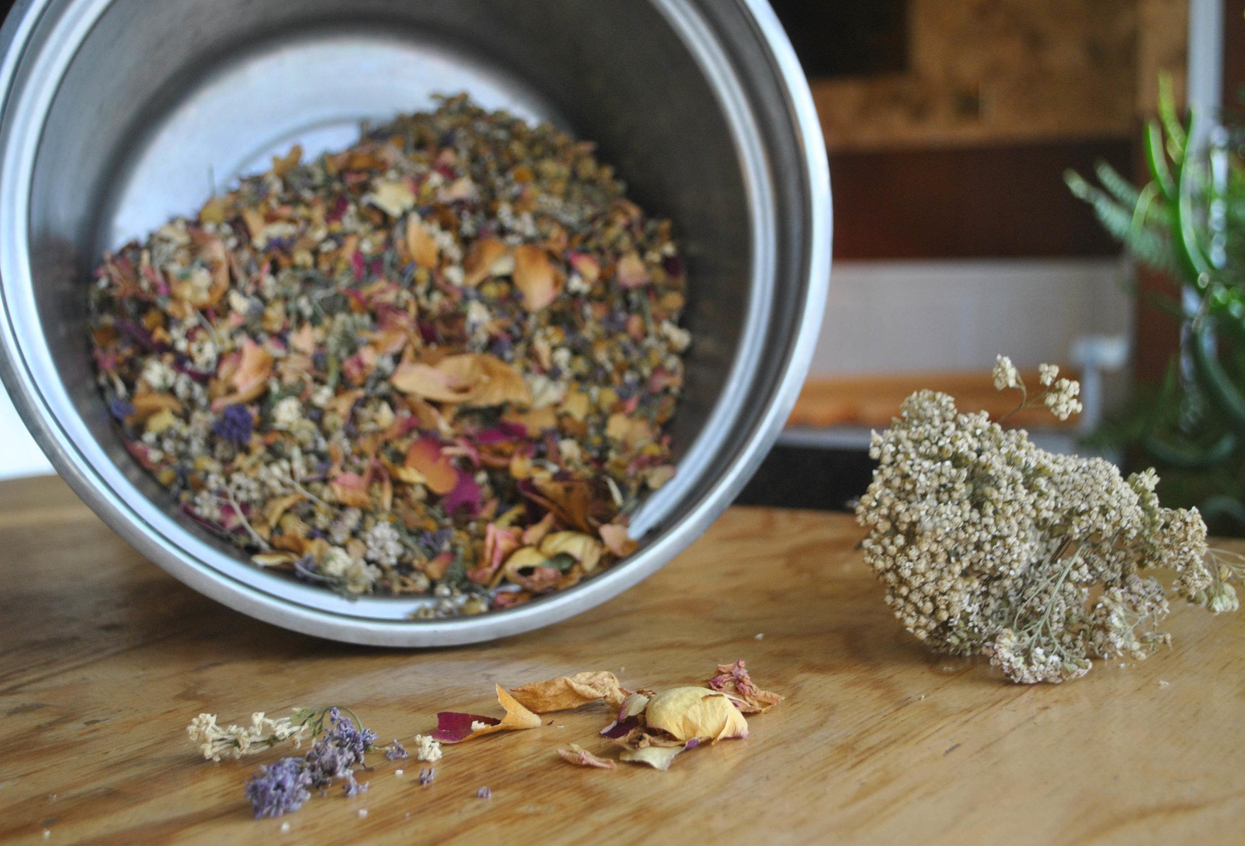 The Floral Tea:  Chamomile, Yarrow, Rose Petal, Echinacea, and Dandelion