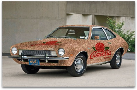 A pinto-covered Pinto as promotional vehicle.