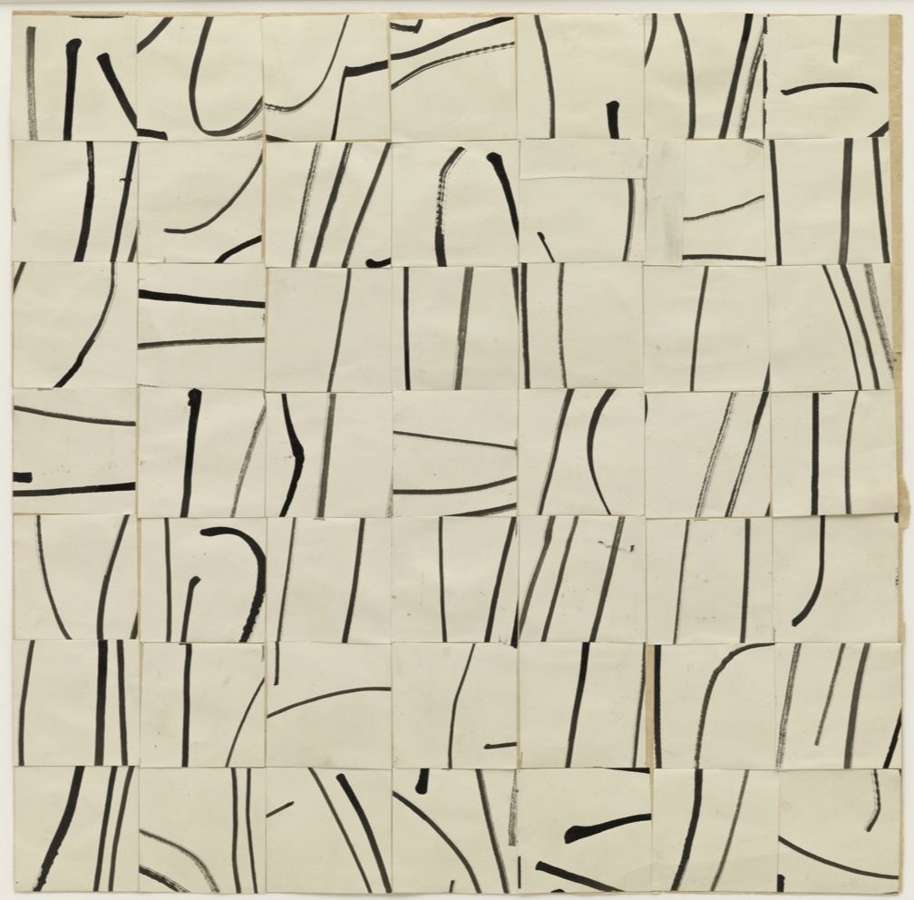 Ellsworth Kelly- Brushstrokes Cut into Forty-Nine Squares and Arranged by Chance, 1951, MoMA