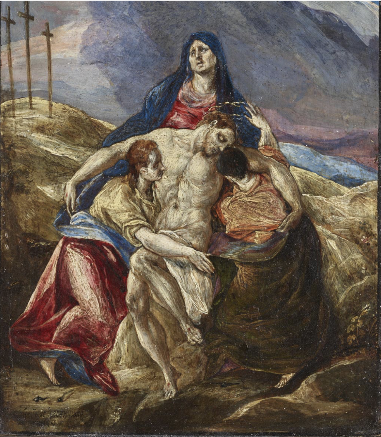 El Greco,  Lamentation , 1571-76, oil on panel, Philadelphia Museum of Art