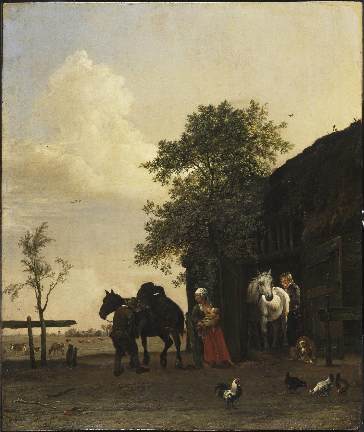 "Paulus Potter- Figures with Horses by a Stable, 1647, oil on panel, 17.75x14.75"", Philadelphia Museum of Art"