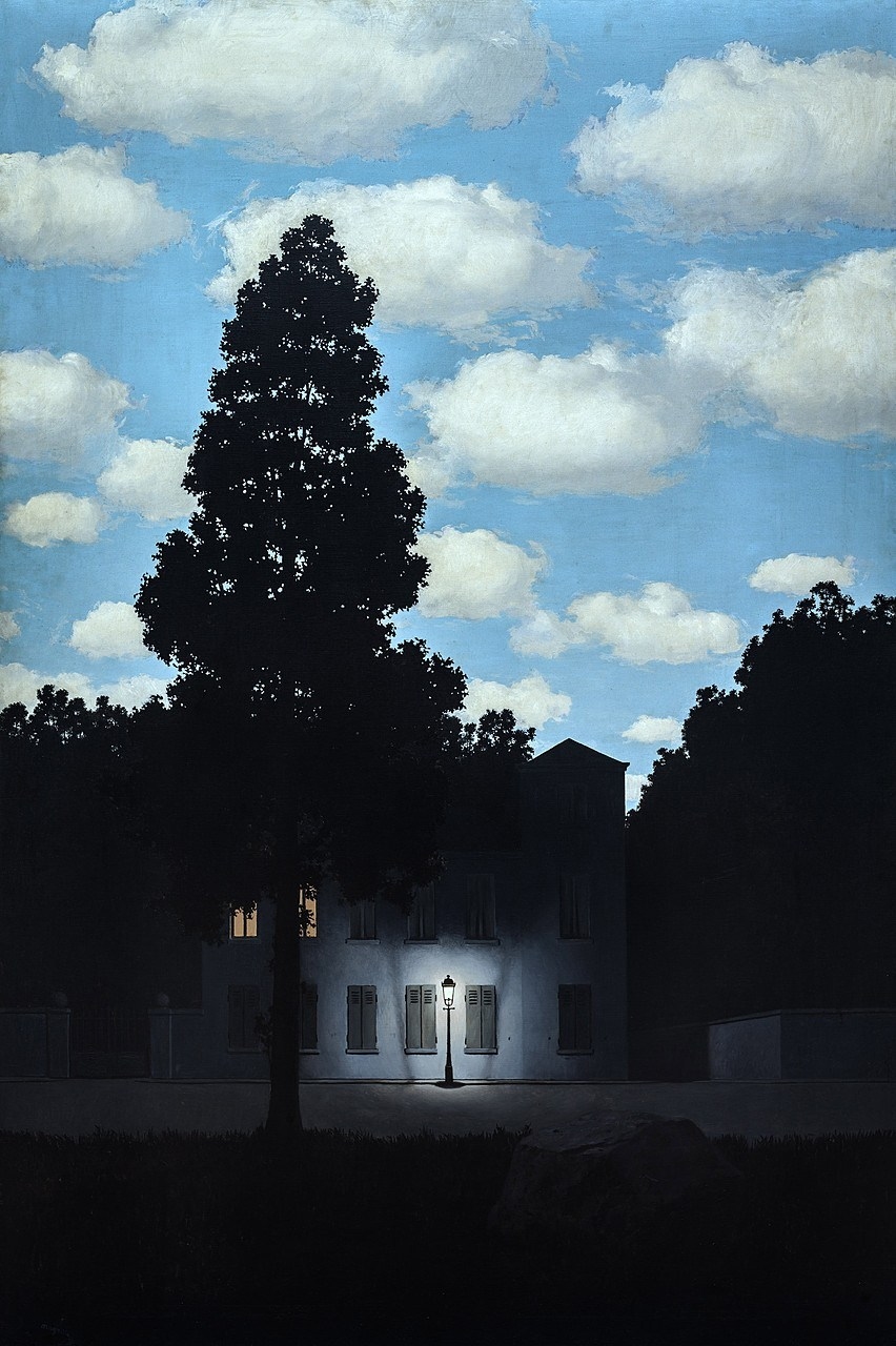 "Rene Magritte- Empire of Light, 1953-54, 76 15/16 x 51 5/8"", oil on canvas, Guggenheim"