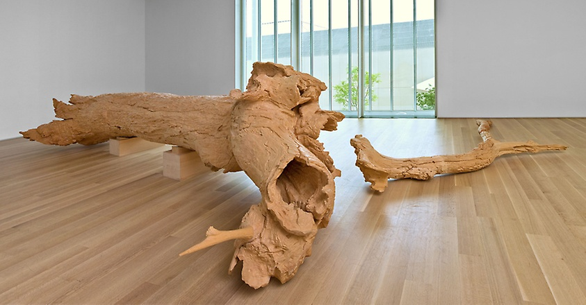 "Charles Ray-  Hinoki , cypress, 60x300x92'""/25x168x82""/25x150x78"", 1997-2007, The Art Institute of Chicago"