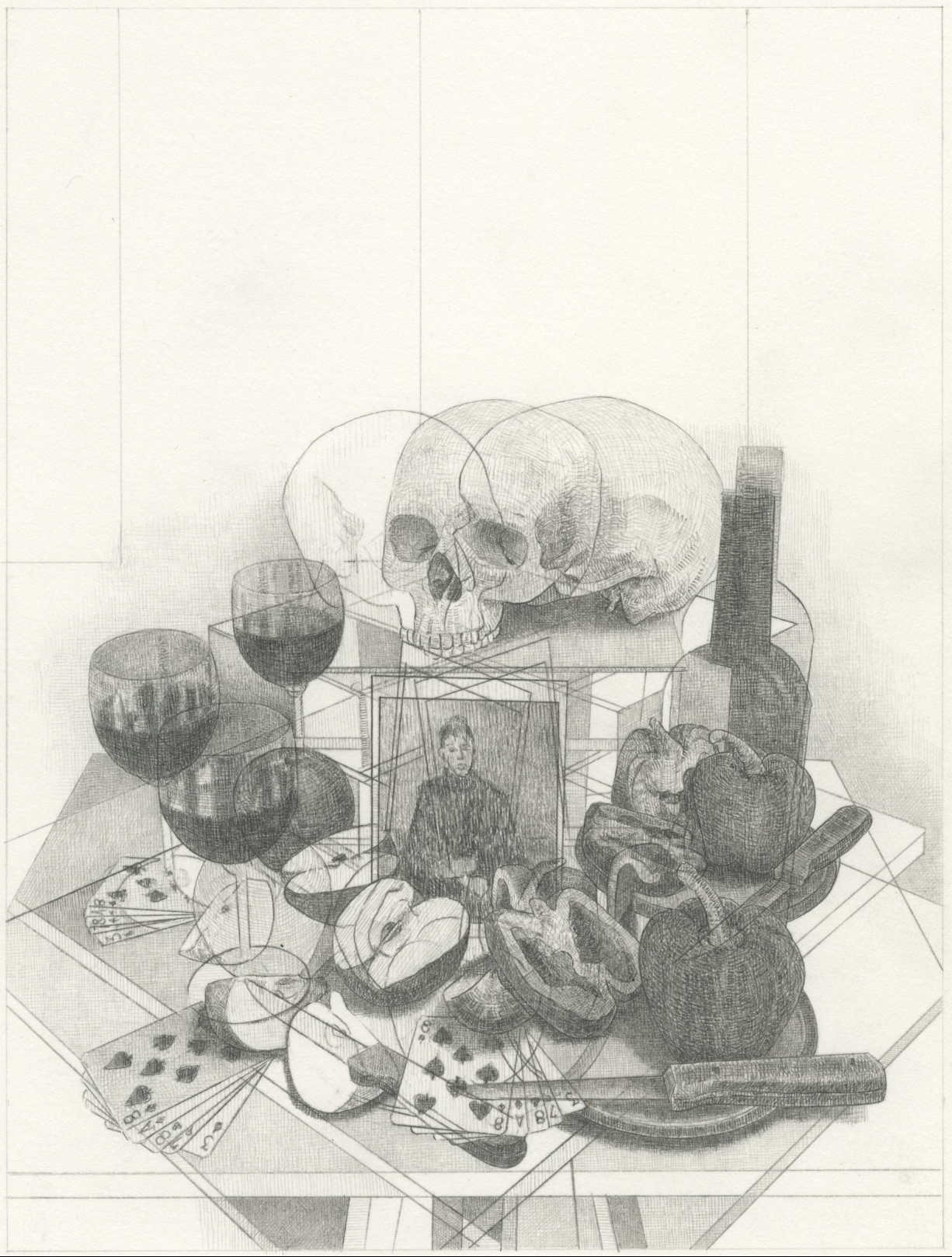"Untitled Still Life (9-2019)   graphite on paper  8x6""  2019"