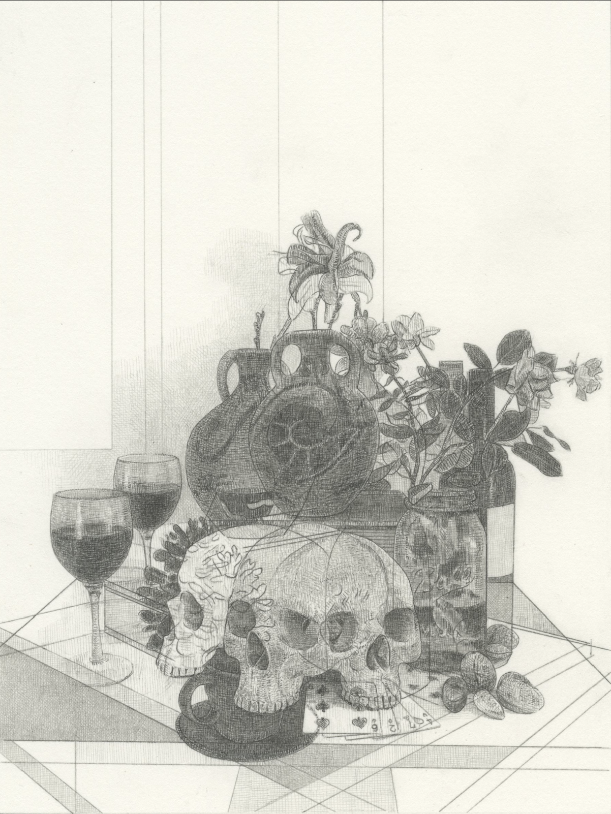 "Untitled Still Life (8-2019)   graphite on paper  8x6""  2019"