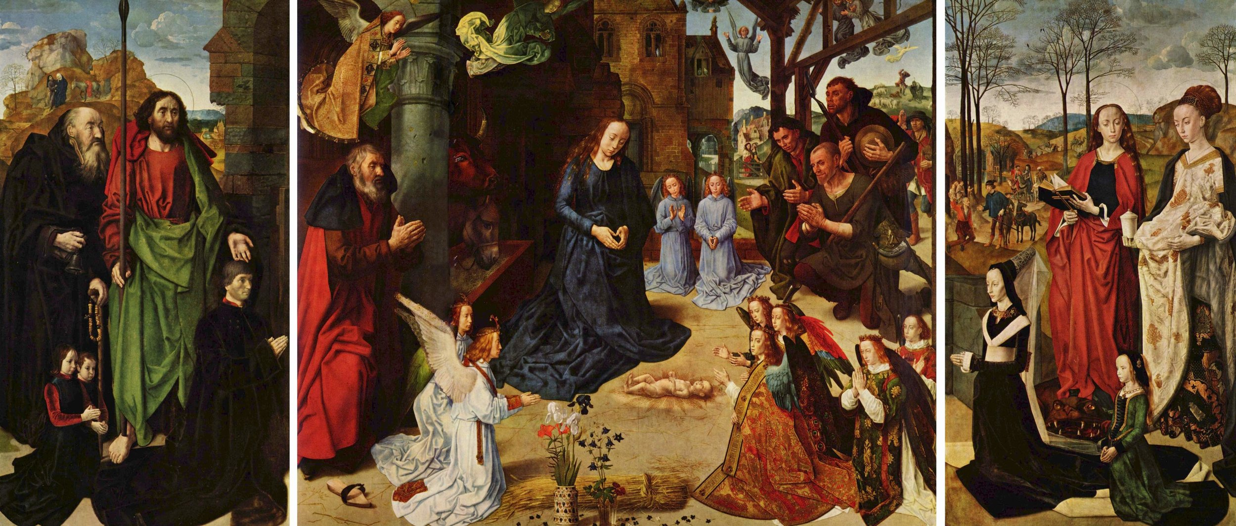 "Hugo van der Goes- The Portinari Altarpiece, c. 1475, oil on panel, approx 107x256"", Uffizi, Florence, Italy"