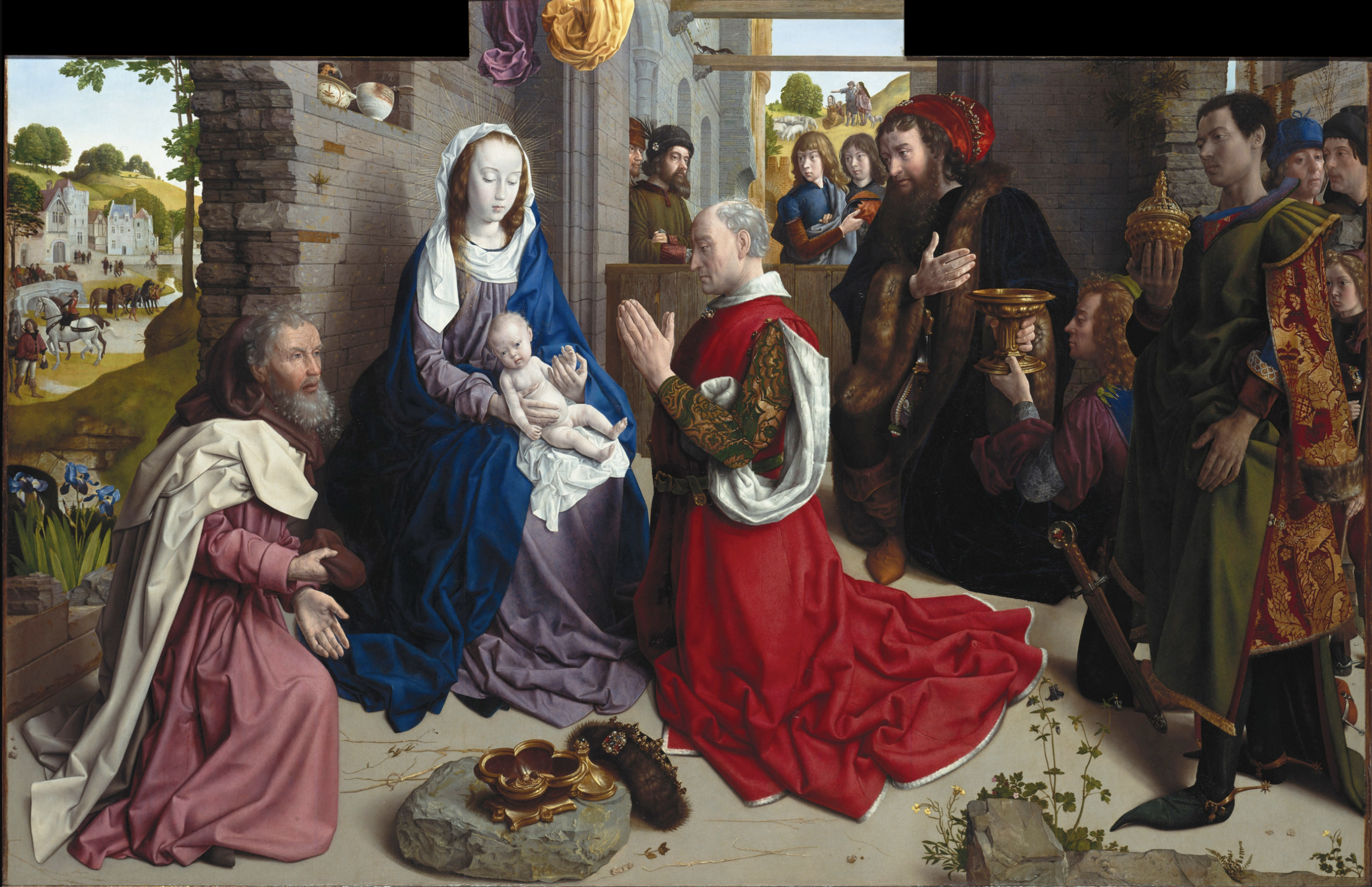 "Hugo van der Goes- The Monforte Altarpiece, c. 1470, oil on wood, 58x95"", Gemäldegalerie, Berlin"