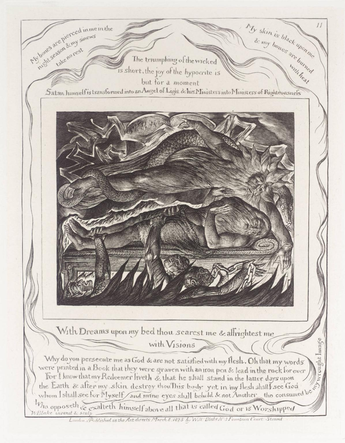 "William Blake-  Job's Evil Dreams , engraving, 7 9/16 x 5 5/8"", 1825, image courtesy the Tate"