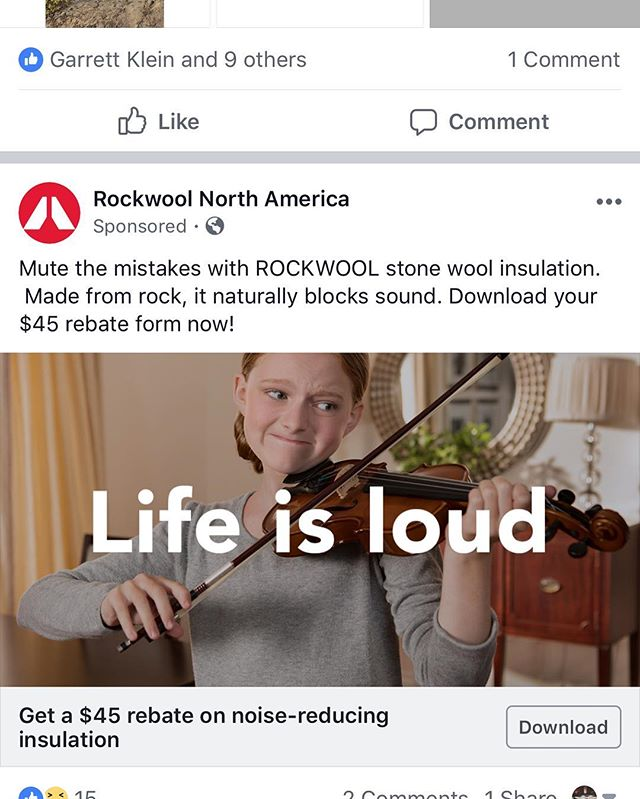 Facebook ad directed at me (probably influenced by my latest practice sessions😉) I wonder who is trying to tell me something 😹😹 Also, to the young violinist... #thestruggleisreal