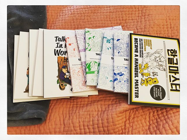 """Finally bit the bullet and ordered a bunch of @ttmik books. My goal is to be able to understand what my birth mom texts to me and to be able to write back! Right now I mostly send pictures of my cats with """"고양이"""" as a caption. #korean #koreanlanguage #koreanadoptee #talktomeinkorean #languagelearning"""