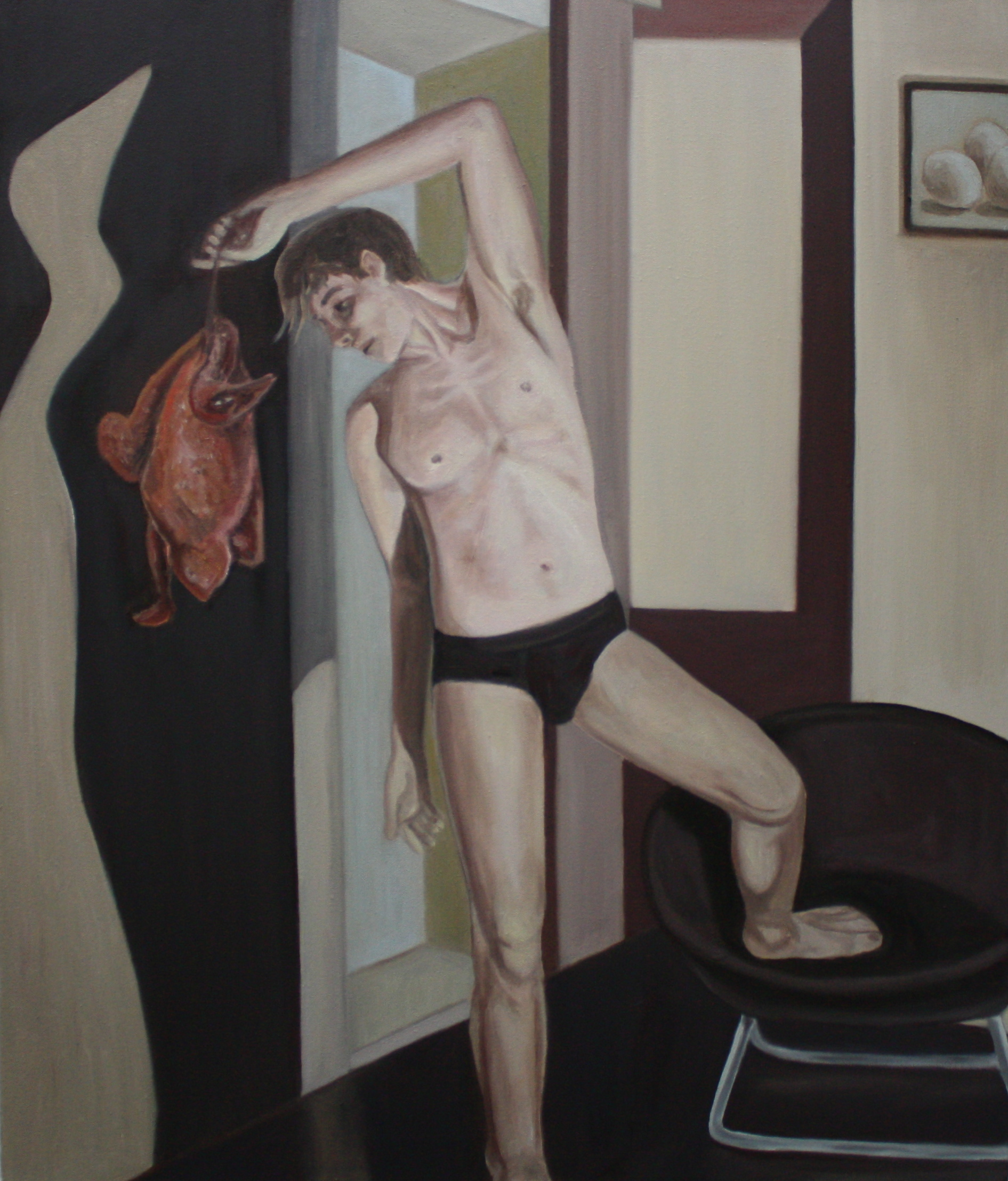 """Unwanted Invitation   29""""x 34"""" Oil on Canvas 2010"""
