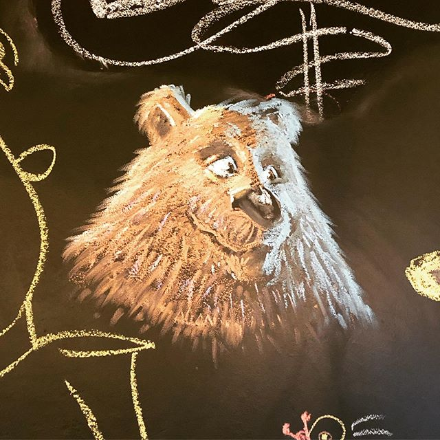 We get some pretty sweet drawings on our blackboard walls, but this one is next level. #bearsforbeer #bearbar #craftbear