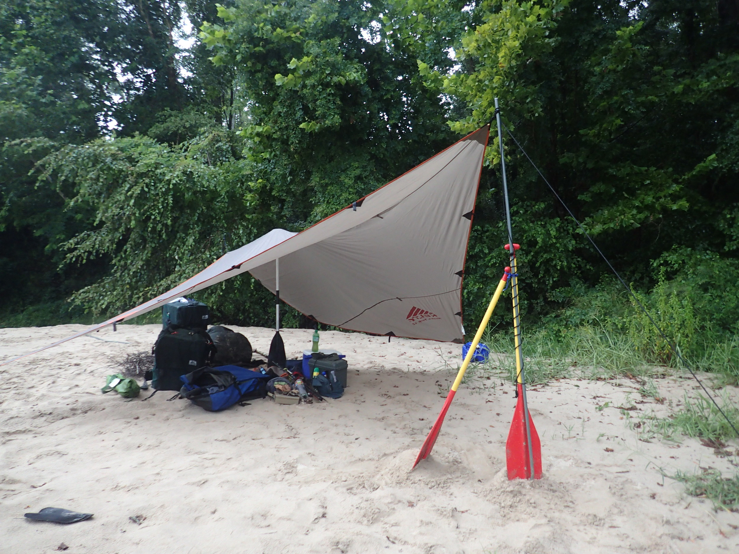 The paddles helped to keep the tarp upright.