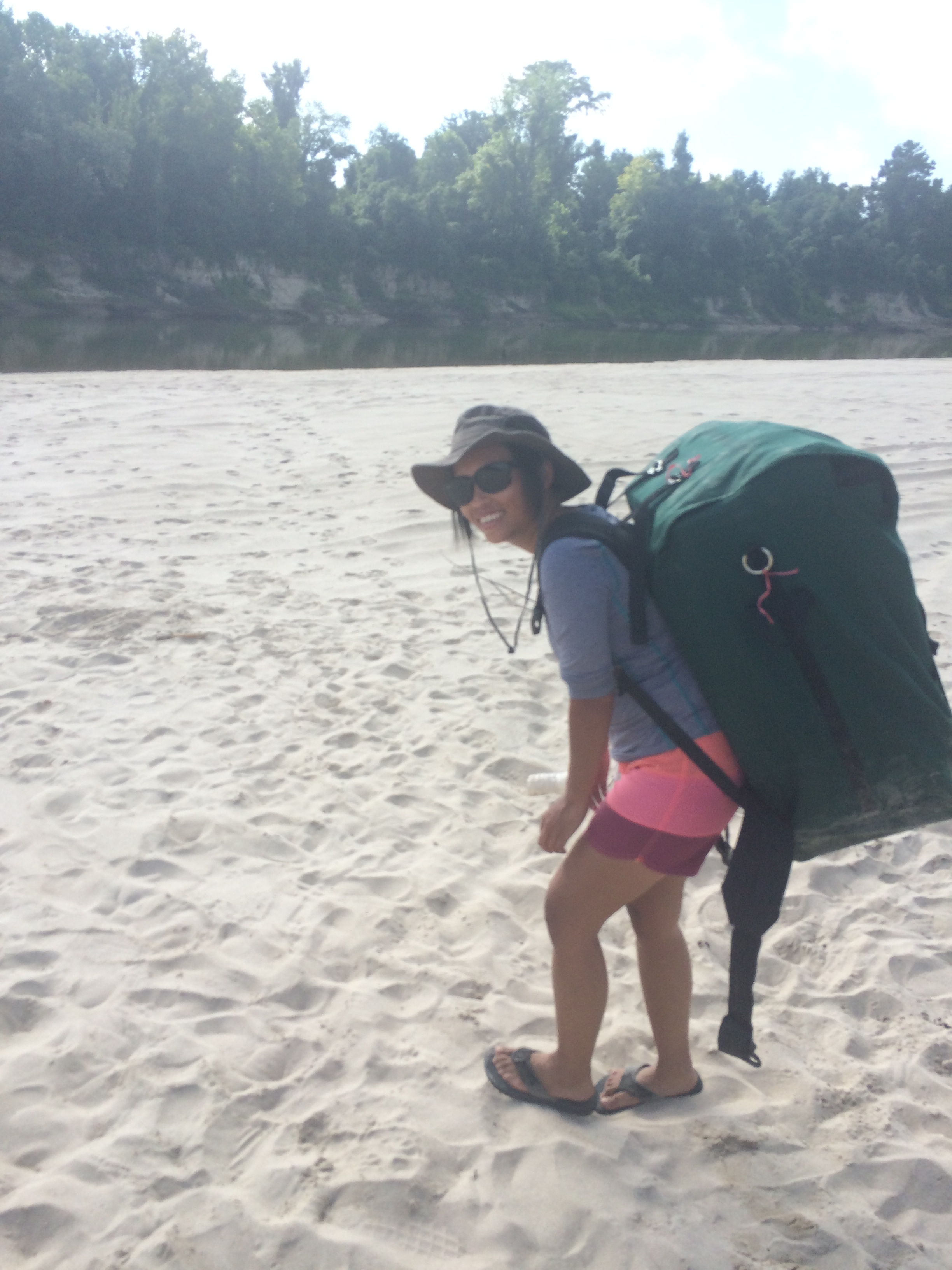 Jessamine with a giant portage pack.
